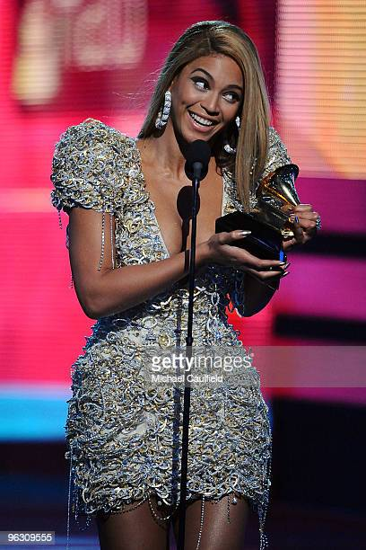 Singer Beyonce receives an award onstage at the 52nd Annual GRAMMY Awards held at Staples Center on January 31 2010 in Los Angeles California