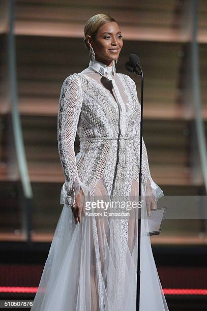 Singer Beyonce speaks onstage during The 58th GRAMMY Awards at Staples Center on February 15 2016 in Los Angeles California