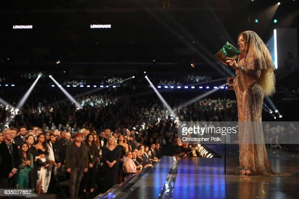 Singer Beyonce speaks onstage during The 59th GRAMMY Awards at STAPLES Center on February 12 2017 in Los Angeles California