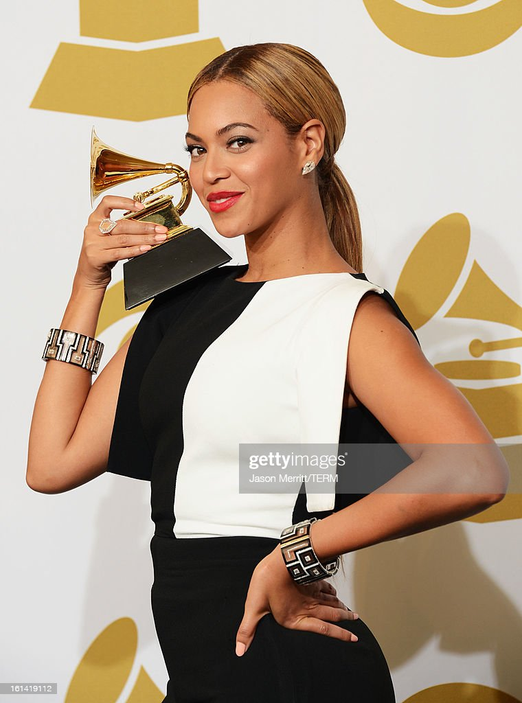 Singer Beyonce winner Best Traditional RB Performance for 'Love on Top' poses in the press room at the 55th Annual GRAMMY Awards at Staples Center on...