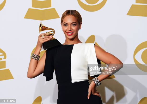 Singer Beyonce winner Best Traditional RB Performance poses in the press room at the 55th Annual GRAMMY Awards at Staples Center on February 10 2013...