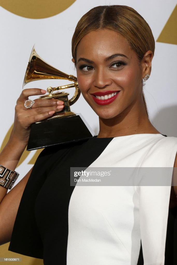 Singer Beyonce, winner Best Traditional R&B Performance, poses in the press room at the 55th Annual Grammy Awards at the Staples Center on February 10, 2013 in Los Angeles, California.