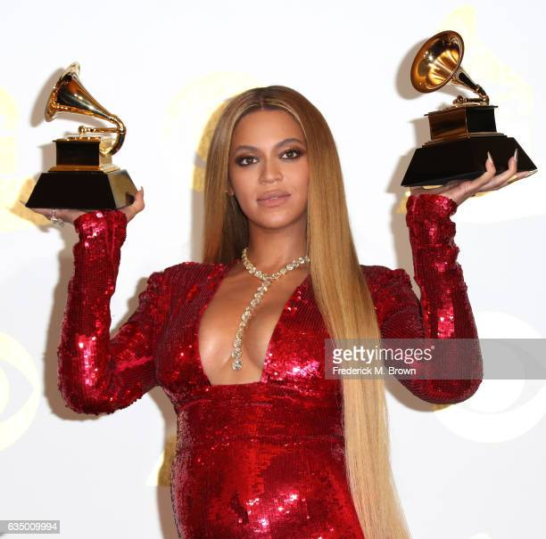 Singer Beyonce winner of Best Urban Contemporary Album for 'Lemonade' and Best Music Video for 'Formation' poses in the press room during The 59th...