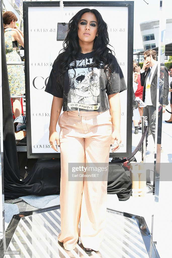 Singer Bibi Bourelly attends the Cover Girl glam stage during the 2016 BET Awards at the Microsoft Theater on June 26, 2016 in Los Angeles, California.