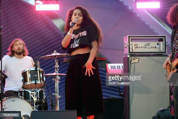 Singer Bibi Bourelly performs onstage during the Twilight Concert Series at Santa Monica Pier on June 22 2017 in Santa Monica California