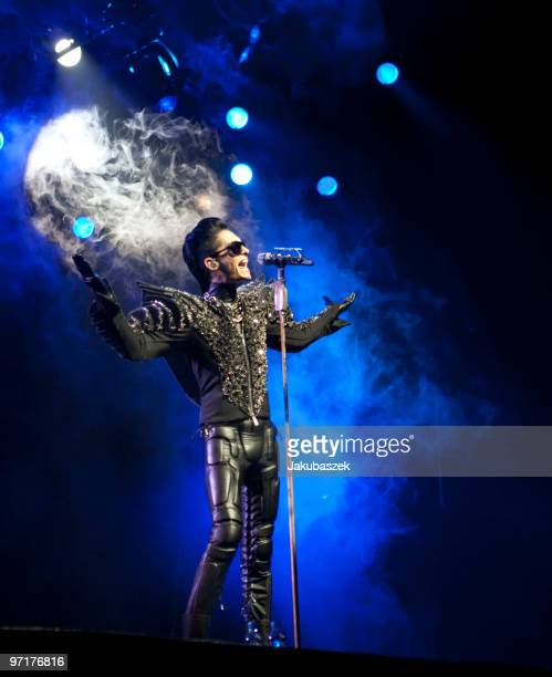 Singer Bill Kaulitz of the German rock band Tokio Hotel performs live during a concert at the Color Line Arena on February 28 2010 in Hamburg Germany...