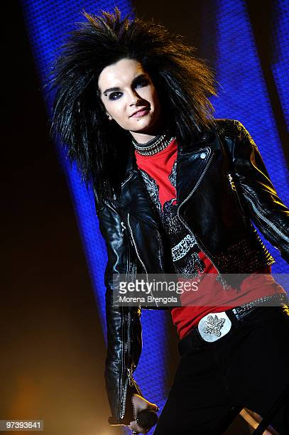 Singer Bill Kaulitz of the German rock band Tokio Hotel performs on July 12 2008 in Milan Italy