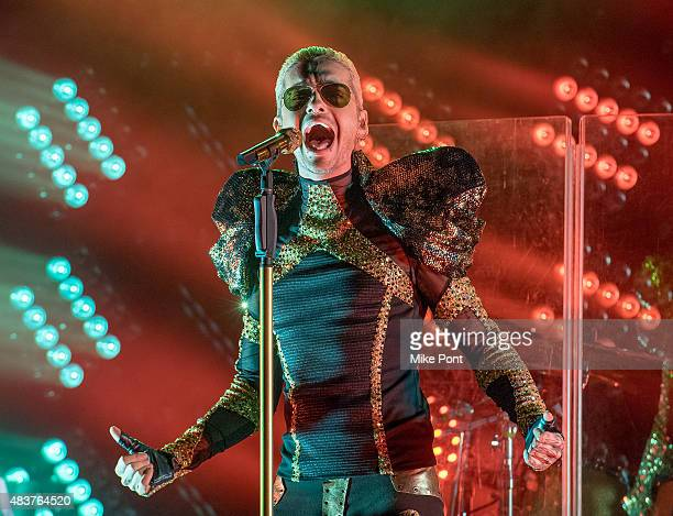 Singer Bill Kaulitz of Tokio Hotel performs during their 'Feel It All World Tour 2015 Part 2 The Club Experience North America' at Irving Plaza on...