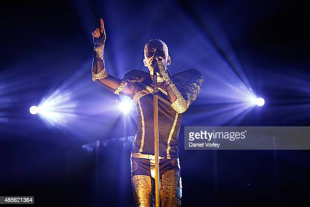 Singer Bill Kaulitz of Tokio Hotel performs live at Citibank Hall on August 28 2015 in Sao Paulo Brazil