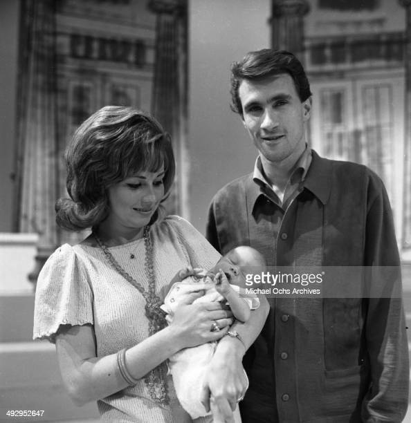Singer Bill Medley of the rock and roll group 'The Righteous Brothers' poses for a portrait with his wife Karen Klaas and their newborn son Darrin...