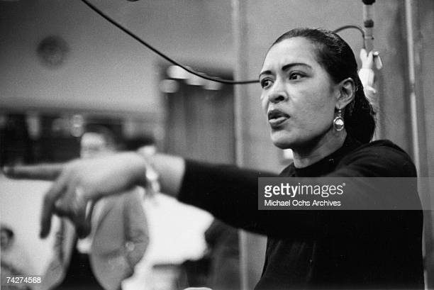 Singer Billie Holiday records her penultimate album 'Lady in Satin at the Columbia Records studio in December 1957 in New York City New York