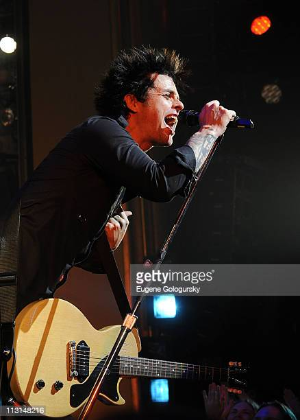 Singer Billie Joe Armstrong of Green Day performs onstage during his final performance in 'American Idiot' on Broadway at the St James Theater on...