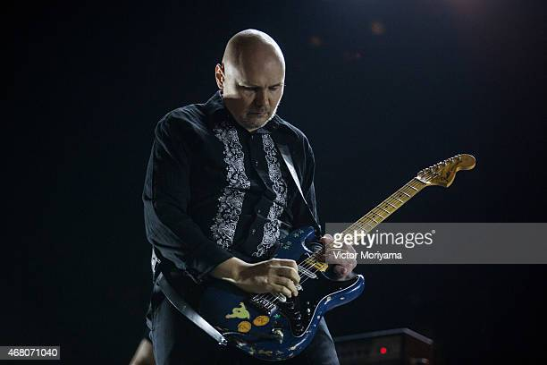Singer Billy Corgan of The Smashing Pumpkins performs during 2015 Lollapalooza Brazil at Autodromo de Interlagos on March 29 2015 in Sao Paulo Brazil