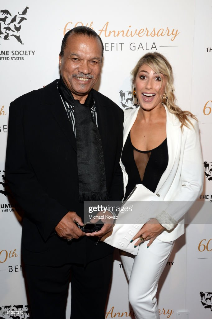 Singer <a gi-track='captionPersonalityLinkClicked' href=/galleries/search?phrase=Billy+Dee+Williams&family=editorial&specificpeople=211323 ng-click='$event.stopPropagation()'>Billy Dee Williams</a> (L) and dancer <a gi-track='captionPersonalityLinkClicked' href=/galleries/search?phrase=Emma+Slater&family=editorial&specificpeople=9080766 ng-click='$event.stopPropagation()'>Emma Slater</a> attend the Humane Society of The United States 60th Anniversary Gala at The Beverly Hilton Hotel on March 29, 2014 in Beverly Hills, California.