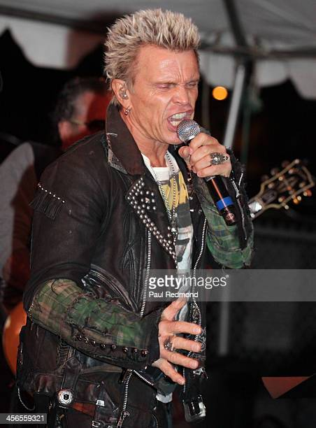 Singer Billy Idol performs at Subliminal Projects presents SID Superman Is Dead a collaborative exhibition by Dennis Morris and Shepard Fairey on...