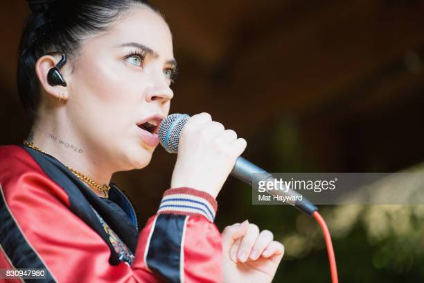 Singer Bishop Briggs performs an EndSession backstage during the Summer Camp music festival hosted by 1077 The End at Marymoor Park on August 12 2017...