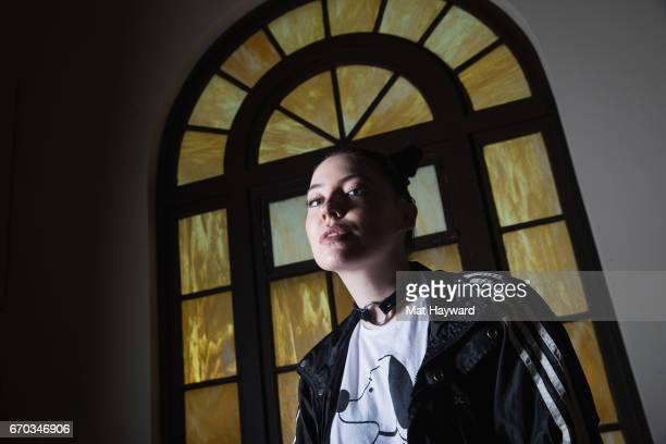 Singer Bishop Briggs poses for a portrait before performing an EndSession hosted by 1077 The End at Fremont Abbey Arts Center on April 18 2017 in...