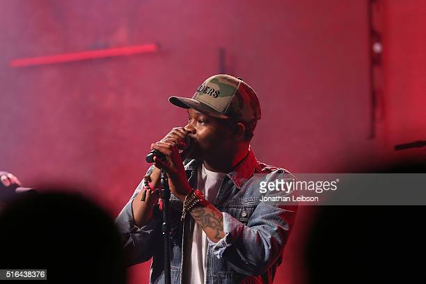 Singer BJ The Chicago Kid performs on stage at Music Is Universal Styldby Gap presented by Marriott Rewards and Universal Music Group during SXSW at...