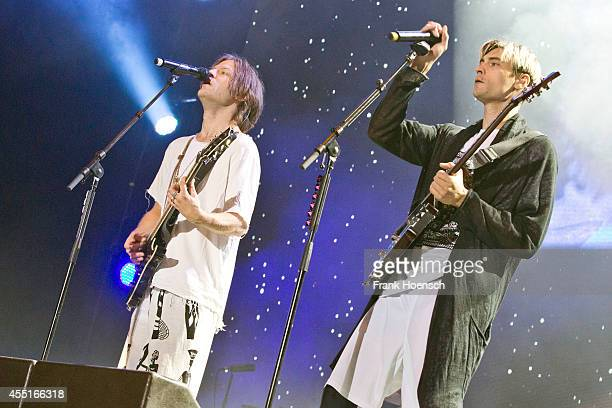 Singer Bjoern HansErik Dixgard and Gustaf Erik Noren of the Swedish band Mando Diao perform live during the concert Stars For Free at the Kindlbuehne...
