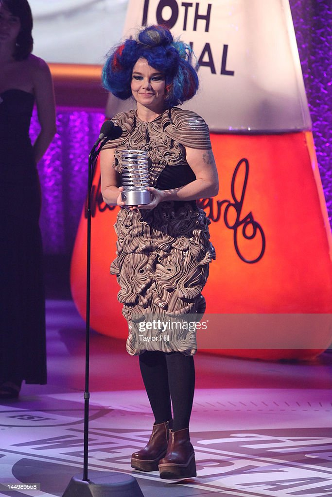 Singer Bjork accepts her Webby for 'Artist of the Year' for her Biophilia app at the 16th Annual Webby Awards at Hammerstein Ballroom on May 21, 2012 in New York City.