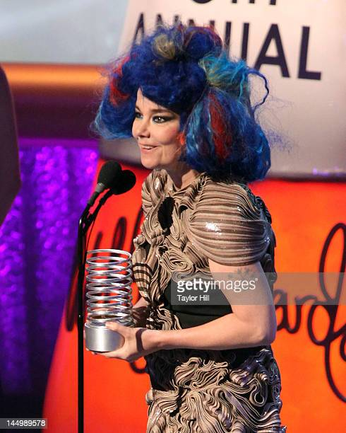 Singer Bjork accepts her Webby for 'Artist of the Year' for her Biophilia app at the 16th Annual Webby Awards at Hammerstein Ballroom on May 21 2012...