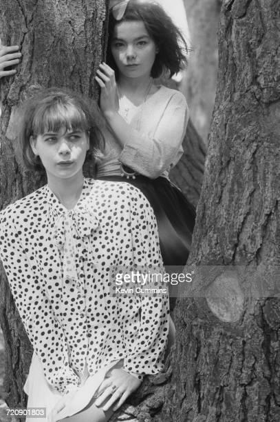 Singer Bjork and keyboard player Margret 'Magga' Ornolfsdottir of Icelandic alternative rock group The Sugarcubes San Francisco 17th August 1988