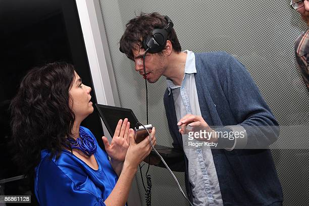 Singer Bjork and singer David Longstreth of The Dirty Projectors dj the Housing Works Bookstore 'Live from Home' After Party at the Cooper Square...