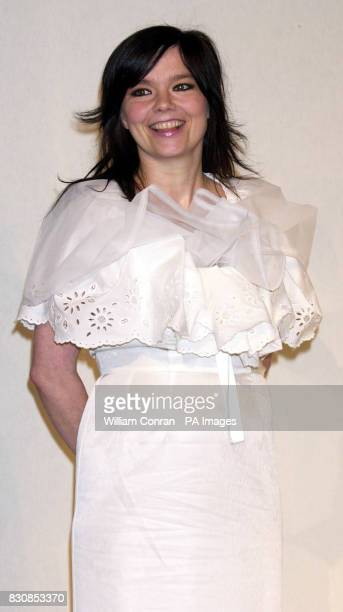 Singer Bjork at the ICA London where she announced the winner of Becks Futures 2002 the UK's largest art prize The prize went to Toby Paterson