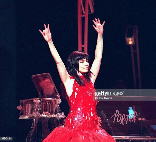 Singer Bjork performs in concert November 4 2001 in the Liceo Theater in Barcelona Spain to promote her new album 'Vespertine'