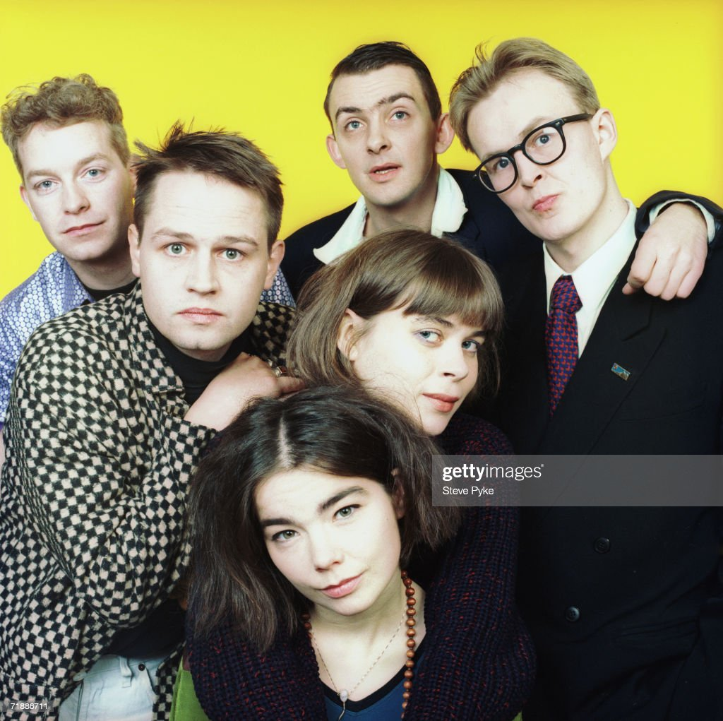 Singer Bjork with fellow members of Icelandic band The Sugarcubes, early 1990s.