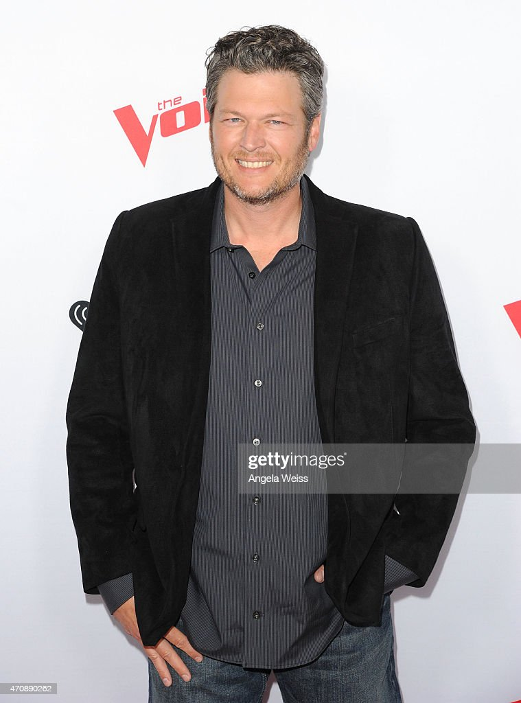 Singer <a gi-track='captionPersonalityLinkClicked' href=/galleries/search?phrase=Blake+Shelton&family=editorial&specificpeople=2352026 ng-click='$event.stopPropagation()'>Blake Shelton</a> arrives at NBC's 'The Voice' Season 8 red carpet event at Pacific Design Center on April 23, 2015 in West Hollywood, California.