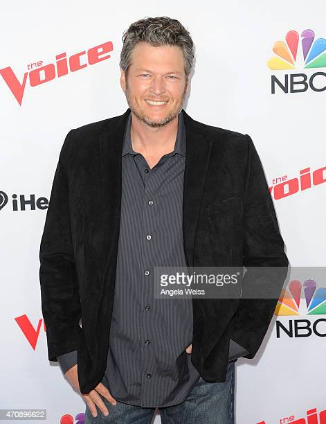 Singer Blake Shelton arrives at NBC's 'The Voice' Season 8 red carpet event at Pacific Design Center on April 23 2015 in West Hollywood California