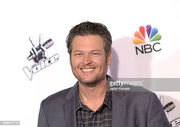 Singer Blake Shelton attends NBC's 'The Voice' Season 7 Red Carpet Event at Universal CityWalk on November 24 2014 in Universal City California