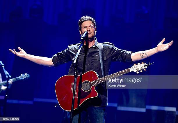 Singer Blake Shelton performs at the 2015 iHeartRadio Music Festival at the MGM Grand Garden Arena on September 19 2015 in Las Vegas Nevada
