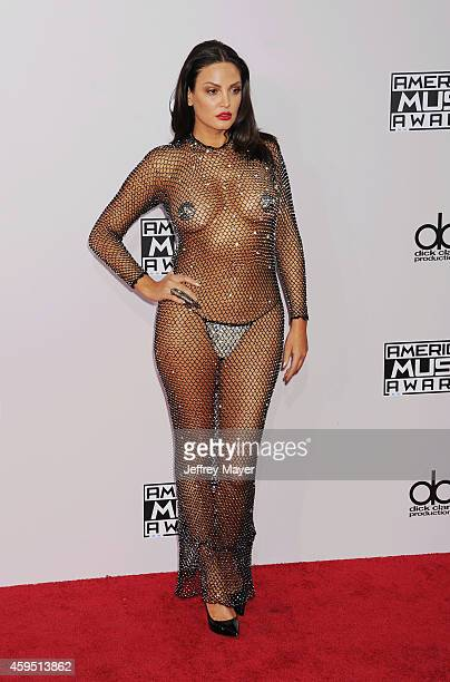Singer Bleona Qereti arrives at the 2014 American Music Awards at Nokia Theatre LA Live on November 23 2014 in Los Angeles California