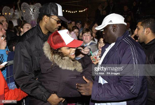 Singer Blu Cantrell is greeted by fans as she arrives to switch on the Camden lights on Camden High Street in central London
