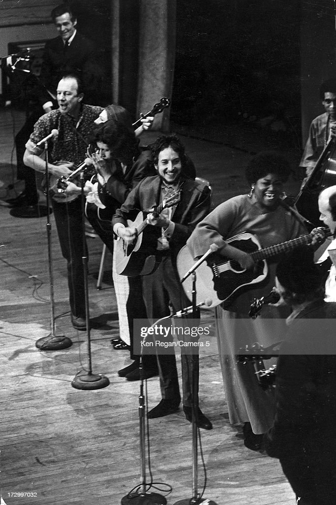Singer Bob Dylan is photographed at A Tribute to Woody Guthrie concert at Carnegie Hall on January 20, 1968 in New York City.