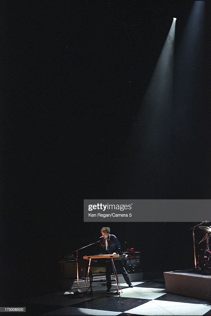 Singer Bob Dylan is photographed in concert in August 2003 at the Hammerstein Ballroom in New York City.