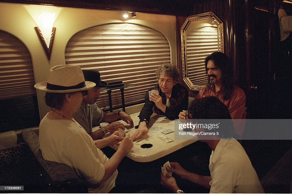 Singer Bob Dylan is photographed with band in August 2001 in Telluride, Colorado.