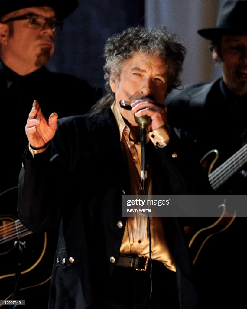 Singer <a gi-track='captionPersonalityLinkClicked' href=/galleries/search?phrase=Bob+Dylan&family=editorial&specificpeople=203289 ng-click='$event.stopPropagation()'>Bob Dylan</a> performs onstage during the 53rd Annual GRAMMY Awards held at Staples Center on February 13, 2011 in Los Angeles, California.