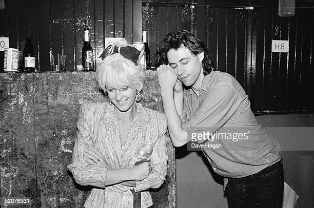 Singer Bob Geldof and his girlfriend Paula Yates backstage at Wembley Stadium during the Live Aid Concert 13th July 1985