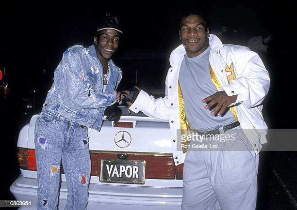 Singer Bobby Brown and boxer Mike Tyson attend the Third Annual Soul Train Music Awards Rehearsals on April 11 1989 at Shrine Auditorium in Los...