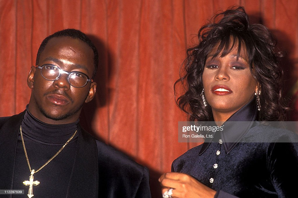 Singer Bobby Brown and singer Whitney Houston attend the 26th Annual NAACP Image Awards on January 5 1994 at Pasadena Civic Auditorium in Pasadena...