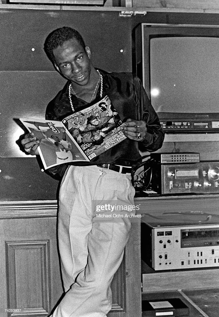 R&B singer Bobby Brown poses for a portrait session holding an October 1986 issue of Right On Magazine in Los Angeles, California.