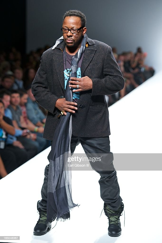 Singer Bobby Brown walks the catwalk during LA Fashion Week for the fashion line of Michael Herrera's luxury streetwear line for men and women on October 17, 2013 in Los Angeles, California.