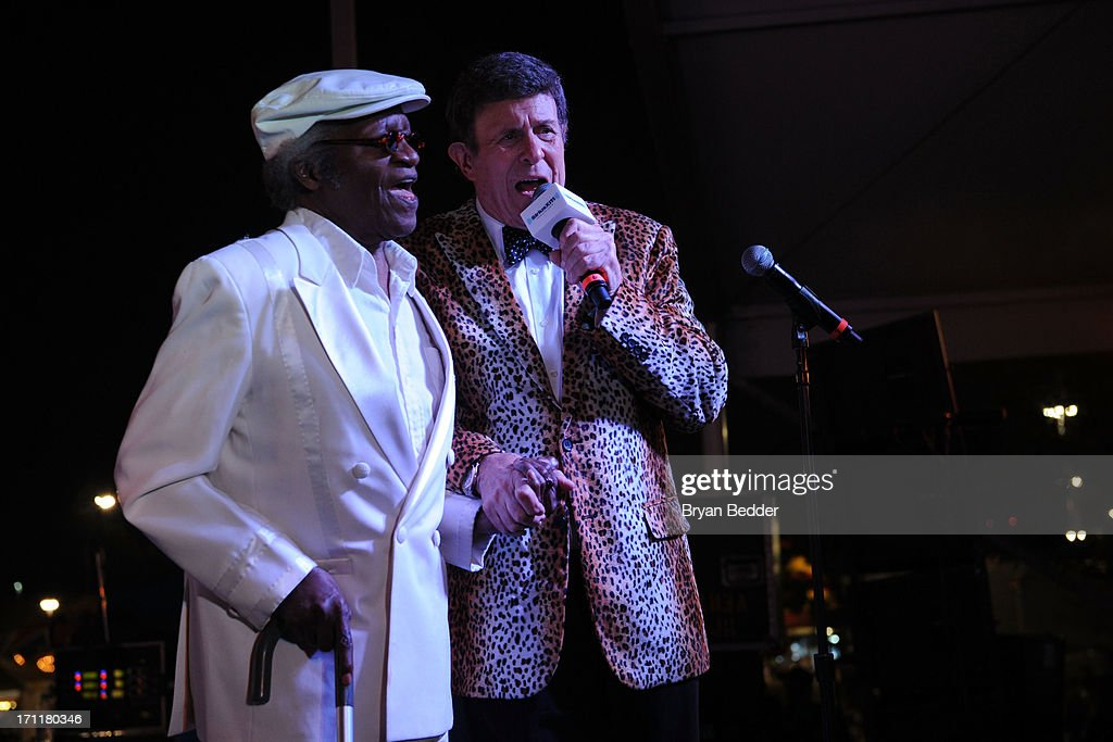 Singer Bobby Lewis and Bruce Morrow onstage at the Cousin Brucie's First Annual Palisades Park Reunion presented by SiriusXM on June 22, 2013 in East Rutherford, New Jersey.
