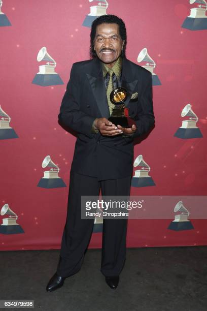 Singer Bobby Rush poses with the Best Traditional Blues Album award backstage at the Premiere Ceremony during the 59th GRAMMY Awards at Microsoft...