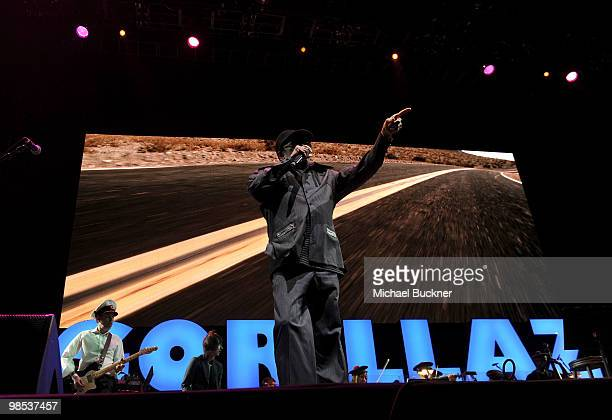 Singer Bobby Womack from the group Gorillaz performs during day 3 of the Coachella Valley Music Art Festival 2010 held at The Empire Polo Club on...