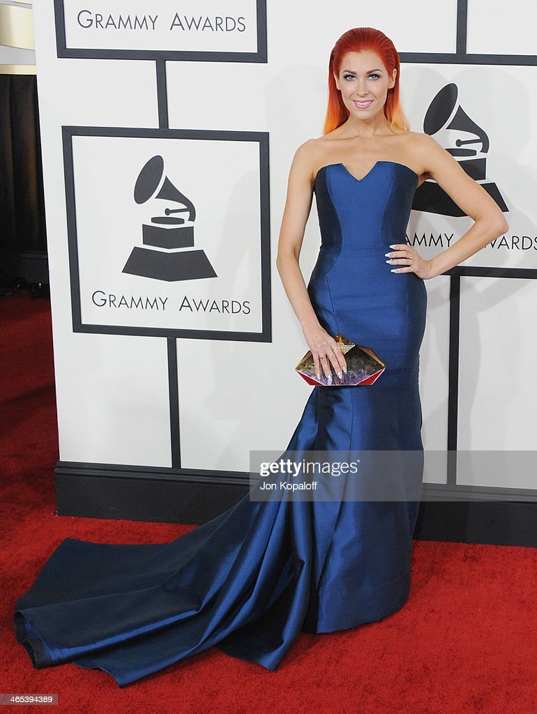 Singer Bonnie McKee arrives at the 56th GRAMMY Awards at Staples Center on January 26, 2014 in Los Angeles, California.