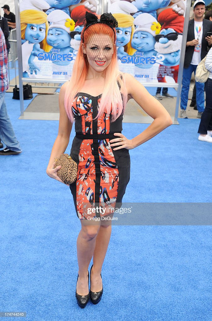 Singer Bonnie McKee arrives at the Los Angeles premiere of 'Smurfs 2' at Regency Village Theatre on July 28, 2013 in Westwood, California.